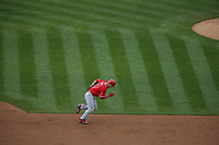 OAKLAND, CA - APRIL 6:  Mike Trout #27 of the Los Angeles Angels of Anaheim runs to second base against the Oakland Athletics during the game at the Oakland Coliseum on Thursday, April 6, 2017 in Oakland, California. (Photo by Brad Mangin)