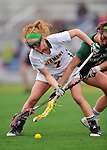 21 April 2012: University of Vermont Catamount midfielder Natalie Jones, a Senior from Saratoga Springs, NY, in action against the Binghamton University Bearcats at Virtue Field in Burlington, Vermont. The Lady cats defeated the visiting Lady Bearcats 12-7. Mandatory Credit: Ed Wolfstein Photo