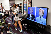PHOENIX, ARIZONA, USA, 19/10/2016:<br /> Clinton supporters are watching the third debate between Donald Trump and Hillary Clinton, at the democratic party headquarters.<br /> Arizona, traditionally very republican state, has become a swing state with both main candidates equally scoring in polls. (Photo by Piotr Malecki / Napo Images)