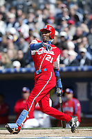 Alexei Ramirez of the Cuban national team during game against the Dominican Republic team during the World Baseball Championships at Petco Park in San Diego,California on March 18, 2006. Photo by Larry Goren/Four Seam Images