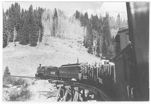 RGS special on trestle 51-A northbound with the Rocky Mountain Railroad Club excursion train.<br /> RGS  Trout Lake, CO  Taken by Maxwell, John W. - 5/29/1949