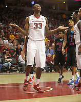 NWA Media/Michael Woods --11/21/2014-- w @NWAMICHAELW...University of Arkansas Moses Kingsley reacts after a call against the Razorbacks in the second half of Friday nights game against Delaware State at Bud Walton Arena in Fayetteville.