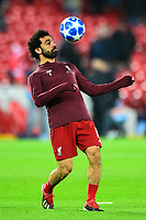Liverpool's Mohamed Salah warms up<br /> <br /> Photographer Richard Martin-Roberts/CameraSport<br /> <br /> UEFA Champions League Group C - Liverpool v Napoli - Tuesday 11th December 2018 - Anfield - Liverpool<br />  <br /> World Copyright © 2018 CameraSport. All rights reserved. 43 Linden Ave. Countesthorpe. Leicester. England. LE8 5PG - Tel: +44 (0) 116 277 4147 - admin@camerasport.com - www.camerasport.com