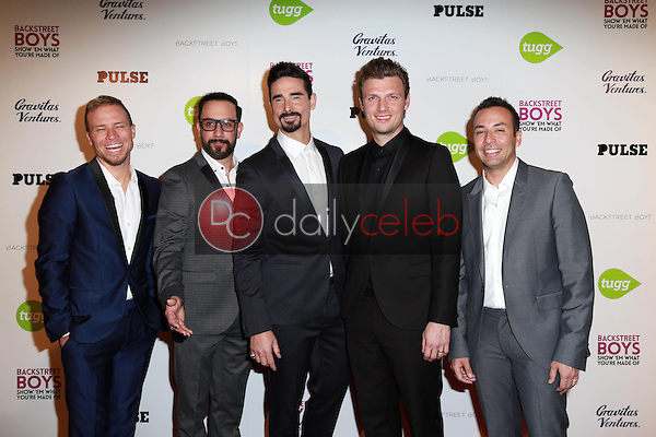 """A.J. McLean, Nick Carter, Brian Littrell, Kevin Richardson, Howie Dorough<br /> at the Backstreet Boys """"Show 'Em What You're Made Of"""" Premiere, Arclight, Hollywood, CA 01-29-15<br /> David Edwards/DailyCeleb.com 818-249-4998"""