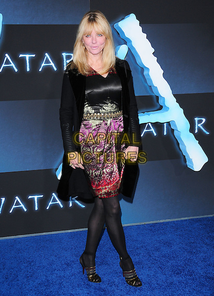 CHERYL TIEGS.The Twentieth Century Fox World Premiere of Avatar held at The Grauman's Chinese Theatre in Hollywood, California, USA. .December 16th, 2009.full length black dress print purple pattern gold tights coat .CAP/RKE/DVS.©DVS/RockinExposures/Capital Pictures.