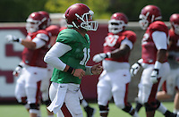 NWA Democrat-Gazette/ANDY SHUPE<br /> Arkansas quarterback Brandon Allen returns to the huddle Tuesday, Aug. 11, 2015, during practice at the university's practice field in Fayetteville.