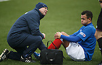 Darren Cole crocked as physio Pip Yeates tells the reff he nedds a stretcher