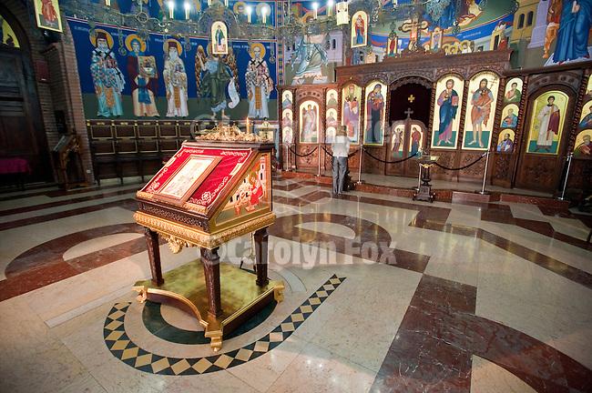 Interior and altar of St. Vasilija of Ostrog Orthodox Church, Novi Beograd