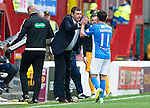 Motherwell v St Johnstone&hellip;13.08.16..  Fir Park  SPFL<br />Tommy Wright congratulates Danny Swanson as he is subbed<br />Picture by Graeme Hart.<br />Copyright Perthshire Picture Agency<br />Tel: 01738 623350  Mobile: 07990 594431