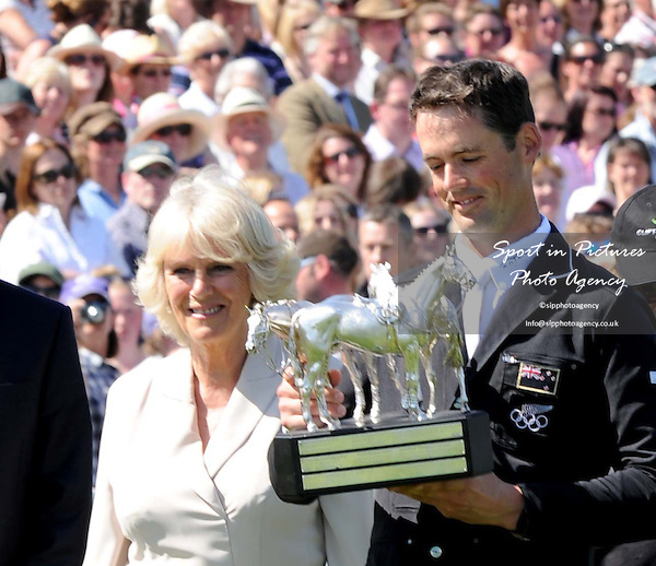 SHOW JUMPING. The Duchess of Cornwall presenting the Trophy to Jonathan Paget (NZL) riding Clifton Promise, THE WINNER. Mitsubishi Motors Badminton Horse Trials. Badminton. Gloucestershire. 06/05/2013. MANDATORY Credit Peter Reynolds/SIP - NO UNAUTHORISED USE - 07837 394578