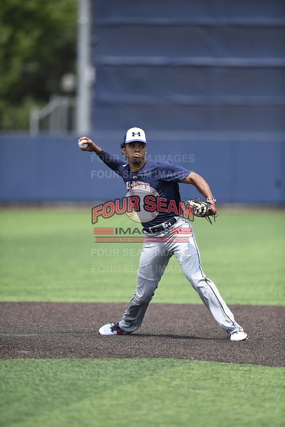 TEMPORARY UNEDITED FILE:  Image may appear lighter/darker than final edit - all images cropped to best fit print size.  <br /> <br /> Under Armour All-American Game presented by Baseball Factory on July 19, 2018 at Les Miller Field at Curtis Granderson Stadium in Chicago, Illinois.  (Mike Janes/Four Seam Images) Rece Hinds is an infielder from IMG Academy in Niceville, Florida committed to LSU.