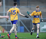 Mark Mc Inerney of  Clare celebrates his first half goal against Limerick  with team mate Shane Meehan during their Munster Minor football quarter final at  Cusack Park. Photograph by John Kelly.