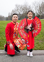 Father and Daughter, Tet In Seattle,  Vietnamese New Year Festival 2019, Seattle Center, WA, USA.
