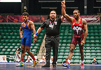 Jordan Burroughs of the United States (cq), after beating Pedro Orlando Martinez Chen of Guatemala in the qualifying round of the Pan American Championships at Dr. Pepper Arena in Frisco, Texas, Friday, Saturday 27, 2015. Burroughs won the match 10-0 and eventually won gold at the event.<br /> <br /> Photo by Matt Nager