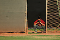 AZL D-backs relief pitcher Brennan Malone (41) watches from the bullpen during an Arizona League game against the AZL Mariners on August 7, 2019 at Peoria Sports Complex in Peoria, Arizona. AZL D-backs defeated the AZL Mariners 4-1. (Zachary Lucy/Four Seam Images)