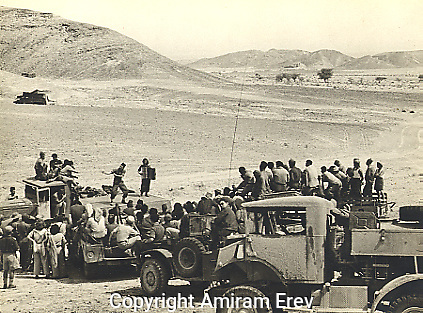 Israeli Army Entertainment Troupe in the Arava, 1949. This was setting a tradition which continues today with entertainers reaching the front line in times of war to perform for the soldiers.