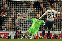 Wilfredo Caballero of Chelsea saves from Christian Eriksen of Tottenham Hotspur during Chelsea vs Tottenham Hotspur, Premier League Football at Stamford Bridge on 27th February 2019