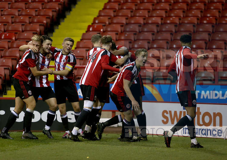 Sheffield united players celebrate the winnir during the FA Youth Cup First Round match at Bramall Lane Stadium, Sheffield. Picture date: November 1st 2016. Pic Richard Sellers/Sportimage
