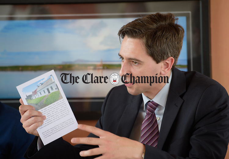 Simon Harris TD, Minister of State at the Departments of Finance, Public Expenditure and Reform speaking at Kilrush Marina. Photograph by John Kelly.