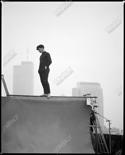 Philippe Petit on the wire