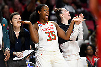 College Park, MD - March 23, 2019: Maryland Terrapins center Olivia Owens (35) is fired up on the sidelines after a three point basket of first round action of game between Radford and Maryland at Xfinity Center in College Park, MD. Maryland defeated Radford 73-51. (Photo by Phil Peters/Media Images International)