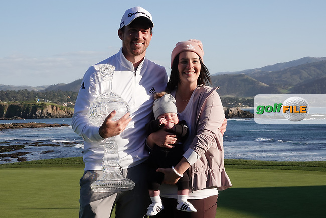 Nick Taylor (CAN) and his family pose with the trophy during prize giving after the final round of the AT&T Pro-Am, Pebble Beach, Monterey, California, USA. 08/02/2020<br /> Picture: Golffile | Phil Inglis<br /> <br /> <br /> All photo usage must carry mandatory copyright credit (© Golffile | Phil Inglis)