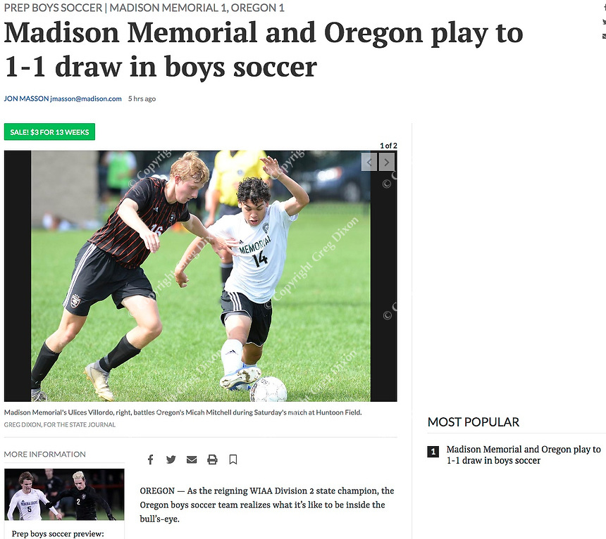 Madison Memorial's Ulices Villordo (14) fights for the ball with Oregon's Micah Mitchell (16), as Madison Memorial ties Oregon 1-1 in boys high school soccer on 9/14/19 at Oregon High School's Huntoon Field in Oregon, Wisconsin | Wisconsin State Journal article front page B1 Sports 9/15/19 and online at https://madison.com/wsj/sports/high-school/soccer/madison-memorial-and-oregon-play-to---draw-in/article_feea1d56-c087-5028-ac77-1d39b845e2b5.html