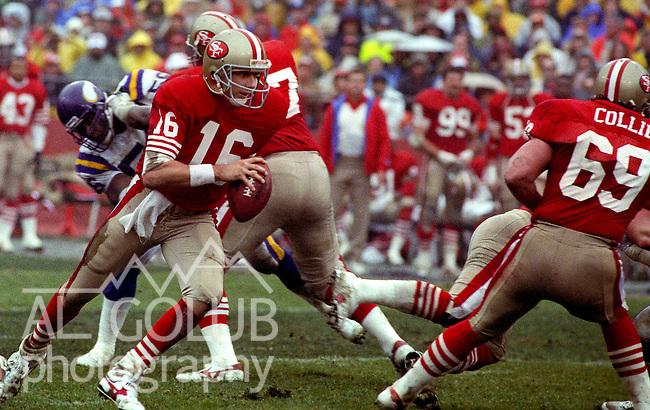 San Francisco 49ers vs  Minnesota Vikings  at Candlestick Park Saturday, January 9, 1988.. Vikings beat 49ers 36-24.San Francisco 49ers Quarterback Joe Montana (16)..