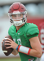 NWA Democrat-Gazette/ANDY SHUPE<br /> Arkansas quarterback Daulton Hyatt works through footwork drills Tuesday, Aug. 1, 2017, during practice at the university's practice field in Fayetteville. Visit nwadg.com/photos to see more photographs from the day's practice.