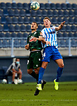Ager Aketxe (RC Deportivo de la Coruna) and Esteban Rolon (Malaga CF) competes for the ball during La Liga Smartbank match round 39 between Malaga CF and RC Deportivo de la Coruna at La Rosaleda Stadium in Malaga, Spain, as the season resumed following a three-month absence due to the novel coronavirus COVID-19 pandemic. Jul 03, 2020. (ALTERPHOTOS/Manu R.B.)
