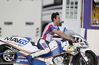 Apr. 26, 2013; Baytown, TX, USA: NHRA pro stock motorcycle rider Adam Arana during qualifying for the Spring Nationals at Royal Purple Raceway. Mandatory Credit: Mark J. Rebilas-