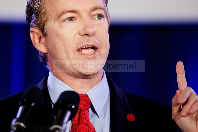 Senator Rand Paul speaks at the Mitch McConnell victory celebration prior to McConnell's victory speech in Louisville, Ky.,on Tuesday, November 4, 2014. Photo by Michael Reaves | Staff