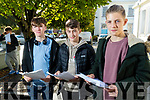 Gaelchólaiste Chiarraí students, pictured after receiving their Junior Certificate results on Wednesday morning last, were l-r: Sean Ó Loingsigh, Dean Ó Líonacháin and Lennox Beaujoun.