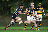 Jayson Potroz gets caught by Daymon Seasuasu as he tries to counter attack. Mitre 10 Cup rugby game between Counties Manukau Steelers and Taranaki Bulls, played at Navigation Homes Stadium, Pukekohe on Saturday August 10th 2019. Taranaki won the game 34 - 29 after leading 29 - 19 at halftime.<br /> Photo by Richard Spranger.