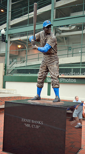 Statue honoring Chicago Cubs great Ernie Banks, a member of the Baseball Hall of Fame, outside Wrigley Field in Chicago, Illinois on Thursday, August 22, 2013.<br /> Credit: Ron Sachs / CNP