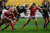 9th June 2017, Westpac Stadium, Wellington, New Zealand; International Womens Rugby; New Zealand versus Canada;  New Zealands Kelly Brazier  (C makes a pass with Canada's Emily Belchos (L) and Brittany Waters