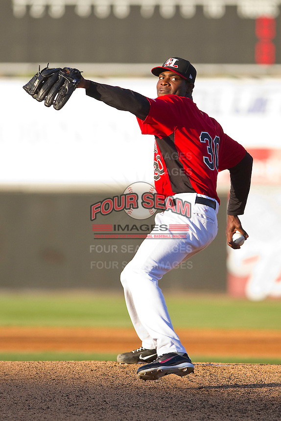 Starting pitcher Roman Mendez #30 of the Hickory Crawdads in action against the Augusta GreenJackets at L.P. Frans Stadium on April 29, 2011 in Hickory, North Carolina.   Photo by Brian Westerholt / Four Seam Images