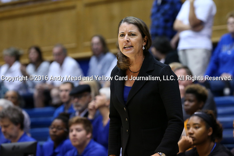 13 November 2016: Duke head coach Joanne P. McCallie. The Duke University Blue Devils hosted the University of Pennsylvania Quakers at Cameron Indoor Stadium in Durham, North Carolina in a 2016-17 NCAA Division I Women's Basketball game. Duke defeated Penn 68-55.