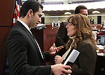 Nevada Senator Ruben Kihuen, D-Las Vegas, talks with Assemblywoman Marilyn Kirkpatrick, D-North Las Vegas, at the Legislature in Carson City, Nev. on Monday, March 7, 2011..Photo by Cathleen Allison