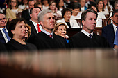 FEBRUARY 5, 2019 - WASHINGTON, DC: United States Senator Elizabeth Warren (Democrat of Massachusetts), behind Supreme Court Justices Elena Kagan, Neil Gorsuch and Brett Kavanaugh  during the State of the Union address at the Capitol in Washington, DC on February 5, 2019. <br /> Credit: Doug Mills / Pool, via CNP