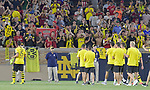 Football: Test Match, Liverpool FC - Borussia Dortmund.  Borussia Dortmund fans applaud the team after their exhibition match on July 19, 2019 at Notre Dame Stadium. <br /> Tim Vizer/DPA