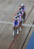 CALI – COLOMBIA – 26-02-2014: Artur Ershov, Evgeny Kovalev, Ivan Kovalev y Alexander Serov equipo de Rusia durante competencia de Persecucion por Equipos masculino en el Velodromo Alcides Nieto Patiño, sede del Campeonato Mundial UCI de Ciclismo Pista 2014. Artur Ershov, Evgeny Kovalev, Ivan Kovalev and Alexander Serov of the Russia team during the test of the Men´s Team Persuit at the Alcides Nieto Patiño Velodrome, home of the 2014 UCI Track Cycling World Championships. Photos: VizzorImage / Luis Ramirez / Staff.
