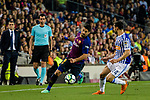 Luis Suarez of FC Barcelona (L) in action against Alberto De La Bella of Real Sociedad (R) during the La Liga match between Barcelona and Real Sociedad at Camp Nou on May 20, 2018 in Barcelona, Spain. Photo by Vicens Gimenez / Power Sport Images