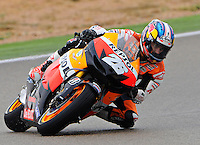 Spanish rider Dani Pedrosa taking a curve during the free practice 1 at The Grand Prix Aragon 2012