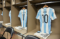 Santa Clara, CA - Monday June 06, 2016: Argentina locker room with the uniform of Argentina midfielder Lionel Messi (10) prior to a Copa America Centenario Group D match between Argentina (ARG) and Chile (CHI) at Levi's Stadium.