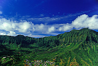Aerial view of the green and majestic Koolau mountain range near the Maunawili Kailua area of windward Oahu