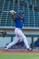 AZL Cubs 1 center fielder Edmond Americaan (22) follows through on his swing during an Arizona League playoff game against the AZL Rangers at Sloan Park on August 29, 2018 in Mesa, Arizona. The AZL Cubs 1 defeated the AZL Rangers 8-7. (Zachary Lucy/Four Seam Images)