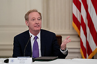 Brad Smith, President, Microsoft, makes remarks during a roundtable discussion with industry leaders on reopening the American economy in the State Dining Room of the White House in Washington, DC on May 29, 2020. <br /> Credit: Erin Schaff / Pool via CNP/AdMedia