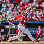 24 February 2019: St. Louis Cardinals top prospect infielder Tommy Edman at bat during a Spring Training game against the Washington Nationals at Roger Dean Stadium in Jupiter, Florida. The Cardinals fell to the Nationals 12-2 in Grapefruit League play. Mandatory Credit: Ed Wolfstein Photo *** RAW (NEF) Image File Available ***