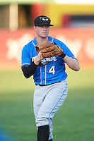 Hudson Valley Renegades third baseman Alex Schmidt (4) warms up before a game against the Vermont Lake Monsters on September 3, 2015 at Centennial Field in Burlington, Vermont.  Vermont defeated Hudson Valley 4-1.  (Mike Janes/Four Seam Images)